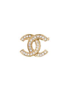 брошь с камнем и логотипом Chanel Vintage