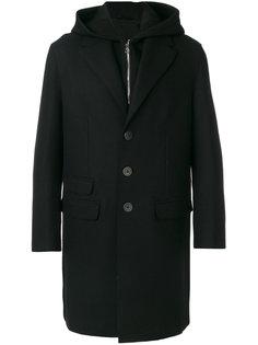 однобортное пальто с капюшоном Neil Barrett