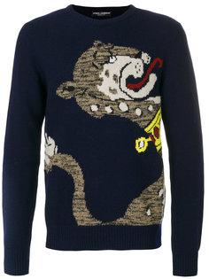 трикотажный джемпер с пантерой Dolce & Gabbana