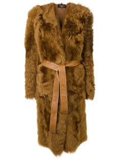 меховое пальто с поясом Rochas