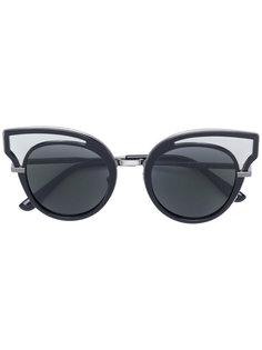декорированные солнцезащитные очки в круглой оправе Bottega Veneta Eyewear