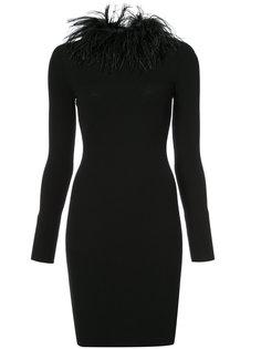 платье с воротником из перьев Boutique Moschino