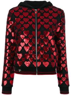 sequin heart zipped hoodie Philipp Plein