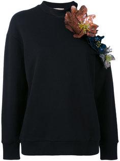 толстовка с объемными цветами и вырезом на плече Christopher Kane