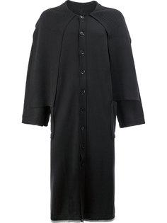 однобортное пальто-накидка Yohji Yamamoto