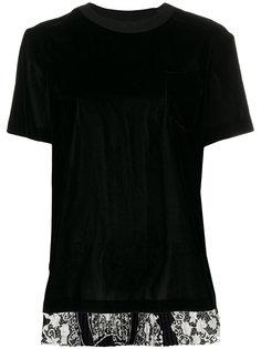 футболка с шифоновой вставкой  Sacai