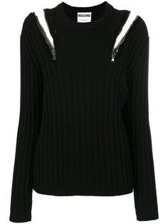 свитер с открытыми плечами и молниями  Moschino