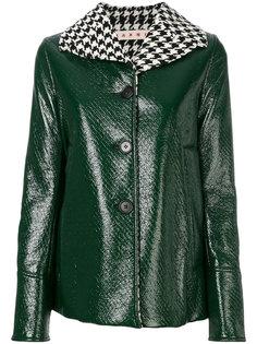 лакированная куртка с воротником в ломаную клетку  Marni