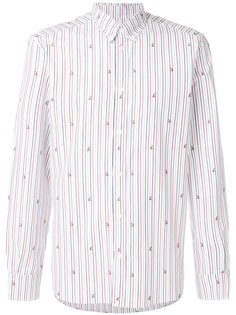 полосатая рубашка с мелким принтом Maison Kitsuné