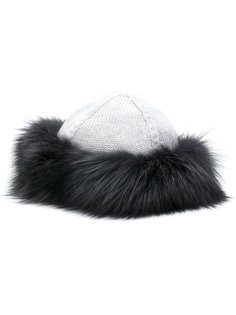 шапка с отделкой из лисьего меха Eleventy