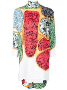 платье с контрастным принтом и отворотом  Toga Pulla