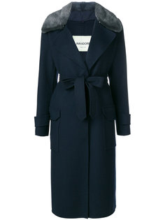 пальто с поясом и норковым мехом Ava Adore