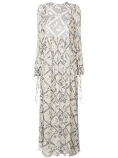 длинное расклешенное платье с вышивкой Chloé