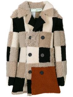 лоскутное пальто из овчины Off-White