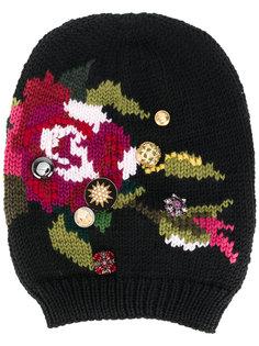 шапка-бини с цветочной вышивкой Dolce & Gabbana