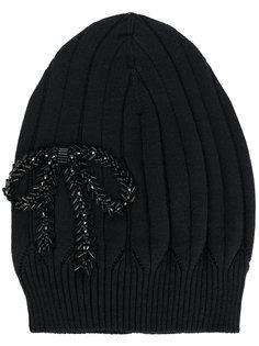 вязаная шапка с декоративным бантом Nº21