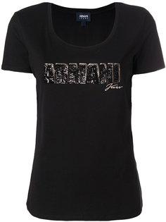 футболка с логотипом из пайеток  Armani Jeans