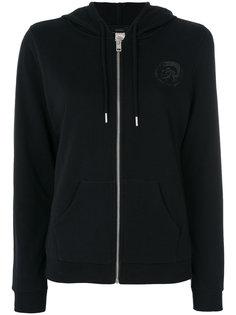 chest print zipped hoodie Diesel