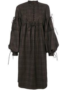 платье в клетку с рукавами клеш  Veronique Branquinho