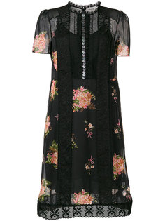 платье на пуговицах с цветочной отделкой  Coach