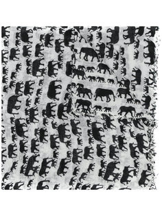 шарф с необработанными краями и принтом слонов Hemisphere