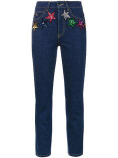 укороченные джинсы стандартной посадки со звездами из блесток Attico