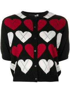 кардиган с короткими рукавами и узором в виде сердец  Love Moschino