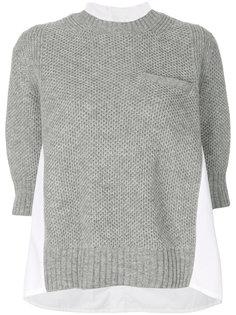 свитер с боковой вставкой  Sacai