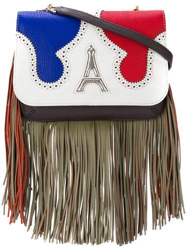 сумка через плечо с бахромой и аппликацией Эйфелевой башки The Volon