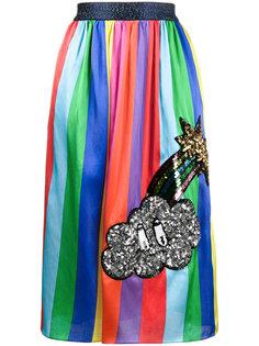 полосатая юбка с украшением из пайеток Mira Mikati