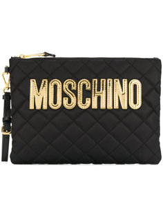 стеганый клатч с логотипом Moschino