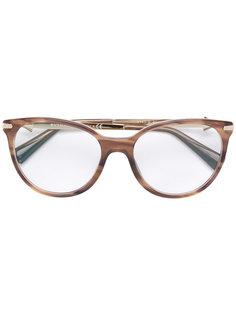 wood effect round glasses Bulgari
