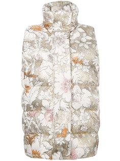 пуховый жилет с цветочным принтом Fendi