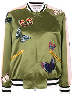 куртка-бомбер с бисерными бабочками  Valentino