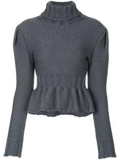 свитер с отворотом и оборкой   Lemaire