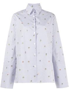 рубашка в полоску с вышивкой  Mira Mikati