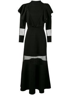 платье с оборками и прозрачными вставками Navro