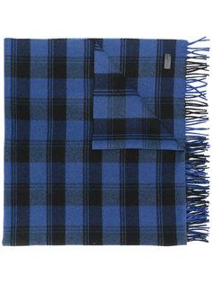шарф с бахромой в клетку Saint Laurent