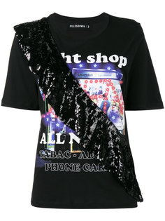 Night Shop T-Shirt with Sequin Frill Filles A Papa