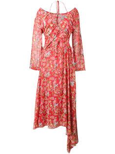 Corinne Floral Print Off-Shoulder Halterneck Dress Preen By Thornton Bregazzi