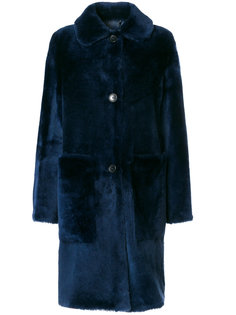 draped buttoned coat Desa Collection