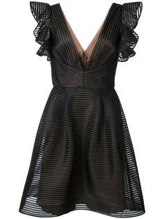 платье мини с оборками Marchesa Notte