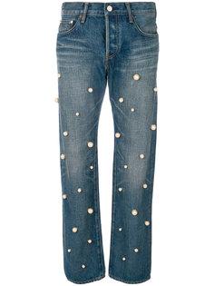pearl embellished jeans Tu Es Mon Tresor