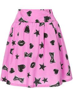 юбка с принтом звезд и сердец Moschino