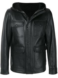 кожаная куртка с капюшоном Ami Alexandre Mattiussi