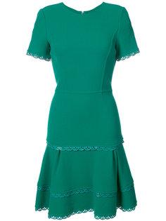 расклешенное платье с волнистой отделкой Oscar de la Renta