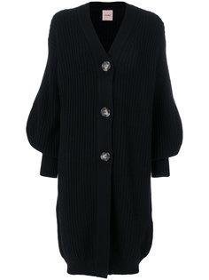 пальто-кардиган с объемными рукавами  Nude
