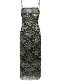 приталенное платье миди с вышивкой Adam Lippes