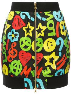 юбка на молнии с принтом peace and love Moschino