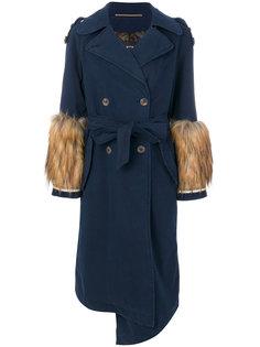 пальто-тренч с отделкой мехом  Bazar Deluxe